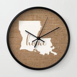 Louisiana is Home - White on Burlap Wall Clock