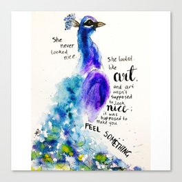 "Watercolour Peacock Charles Bukowski quote ""She never looked nice..."" Canvas Print"