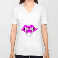 teeth V-neck T-shirts featuring Teeth by ParasiticTeddyBear