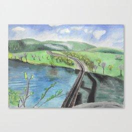 Railroad Across a River Canvas Print