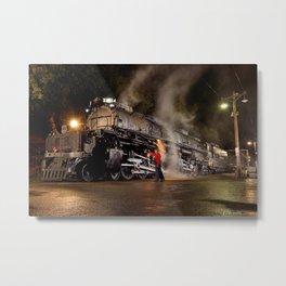 Inspecting With Lantern. Light Streak. UP 4014. Union Pacific. Steam Train. Big Boy. © J. Montague. Metal Print