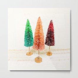 Vintage Bottlebrush Pastel Trees Metal Print