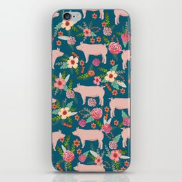 Pig florals farm homesteader pigs cute farms animals floral gifts iPhone Skin