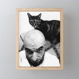Bald man and his pussycat Framed Mini Art Print