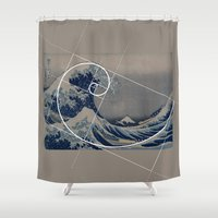 fibonacci Shower Curtains featuring Hokusai Meets Fibonacci by Vi Sion