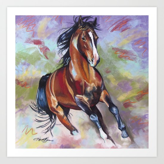 Contemporary Stallion Horse Painting Art Print