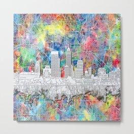 indianapolis city skyline watercolor Metal Print