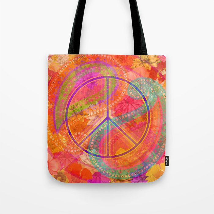 Hippie Chic Paisley Flowers Peace Tote Bag