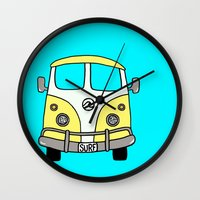 vw bus Wall Clocks featuring VW Bus Yellow by Cheryl Syminink