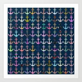 Nautical navy blue colorful patterns anchor pattern Art Print