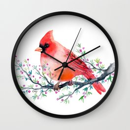 Watercolor red cardinal on berry branch Wall Clock