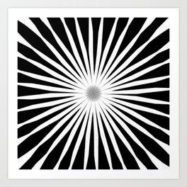 Starburst Black and White Pattern Art Print