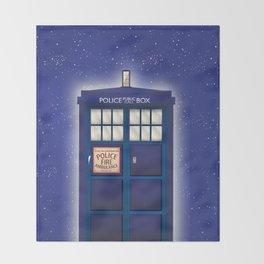 vintage police box starfield Throw Blanket