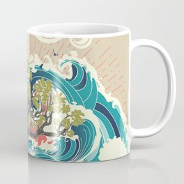 Stylized tree and stormy ocean or sea at sunset, art poster design Coffee Mug