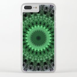 Green and violet mandala Clear iPhone Case