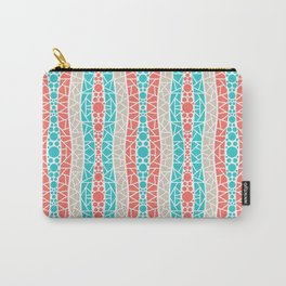 Mosaic Wavy Stripes in Coral, Tan and Turquoise Carry-All Pouch