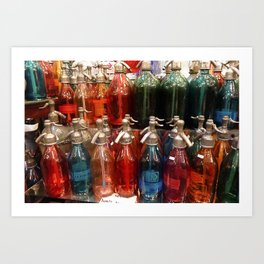 Red, Blue and Green Antique Soda Bottles, San Telmo, Buenos Aires Art Print