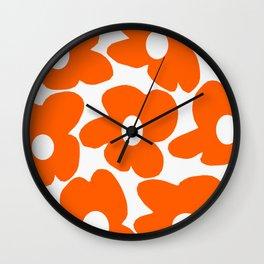 Orange Retro Flowers White Background #decor #society6 #buyart Wall Clock