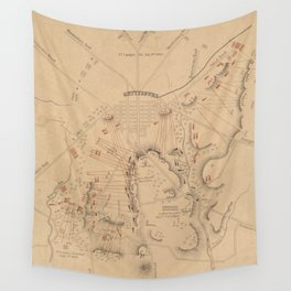 Vintage Map of The Battle of Gettysburg (1864) Wall Tapestry