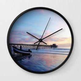Dory Sunset Newport Beach Pier Wall Clock