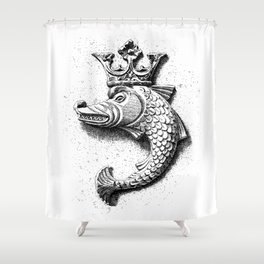 Fish Grotesque with Crown | Black and White | Shower Curtain