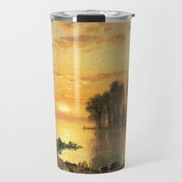 Albert Bierstadt, Sunset, Deer and River. Landscape oil painting fine art. Travel Mug