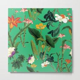 Vintage wild flowers green Metal Print