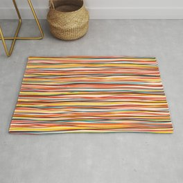 Bright Colorful Lines - Classic Abstract Minimal Retro Summer Style Stripes Rug