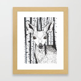 Ink and watercolor black and white doe/deer in the forest Framed Art Print