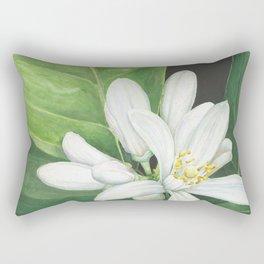 Watercolor Orange Blossom Rectangular Pillow