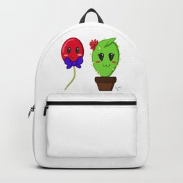 Unfortunate relationship: cute cactus and balloon symbol black Backpack