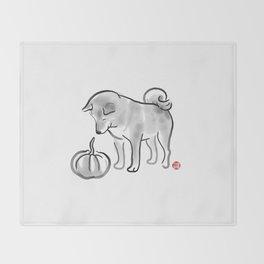 My Pumpkin, My Shiba Throw Blanket