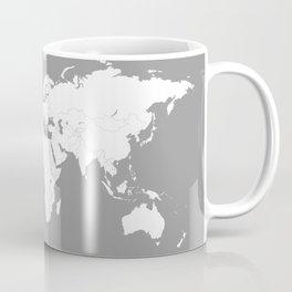 Minimalist World Map in Grey Coffee Mug