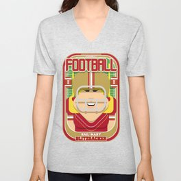 American Football Red and Gold - Hail-Mary Blitzsacker - Hazel version Unisex V-Neck