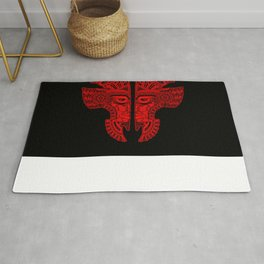 Red and Black Aztec Twins Mask Illusion Rug