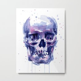 Skull Watercolor Purple Colorful Metal Print