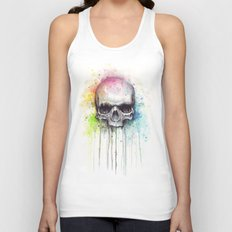 Skull Rainbow Watercolor Painting Skulls Unisex Tank Top