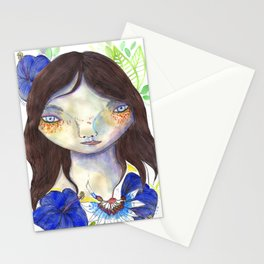 Girl and exotic blue flowers Stationery Cards