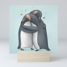 Penguin Hug Mini Art Print