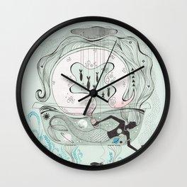 Mermaid in a bathtub. Wall Clock