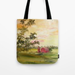 Red Barn, Farm Painting, by Faye Tote Bag