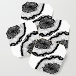 Gray Black White Agate Glitter Glamor #2 #gem #decor #art #society6 Coaster