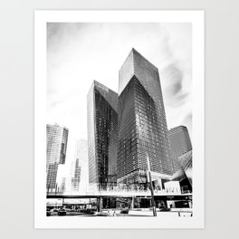 twin buildings at Las Vegas, USA in black and white Art Print