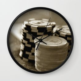 Casino Chips Stacks-B&W Wall Clock