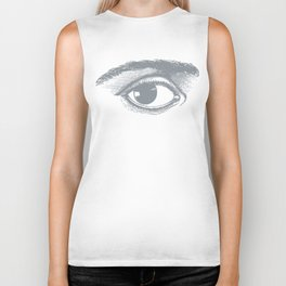 I see you. Gray on White Biker Tank