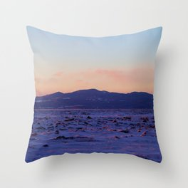 Mountain Sunset in the winter Throw Pillow