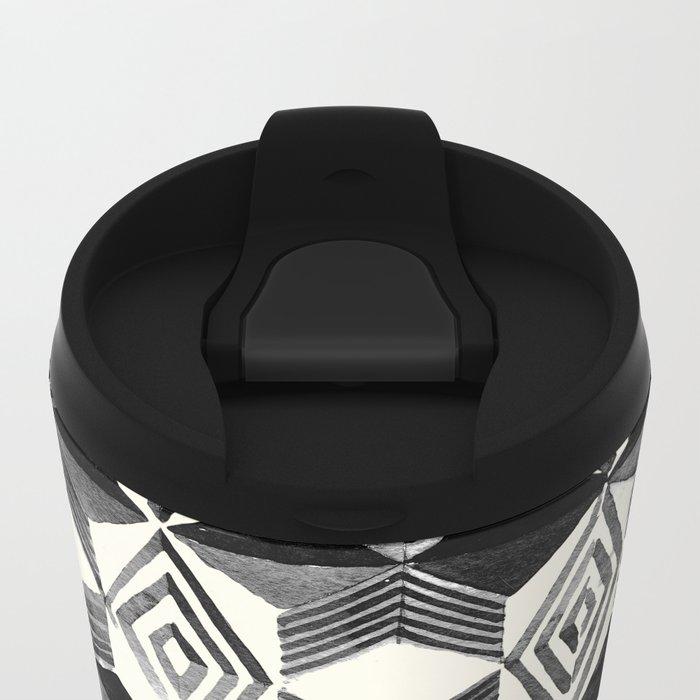 Shibori Diamond Stars Black Earth and Ivory Metal Travel Mug