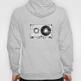 1980's Retro Black-White Vintage 80's Cassette Eighties Technology Art Print Home Decor Wall Decor Hoody
