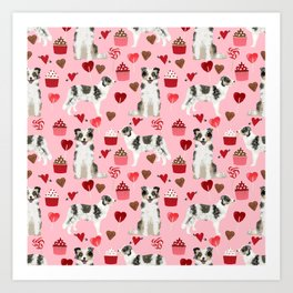 Border Collie valentines day cupcakes love hearts dog breed gifts collies herding dogs pet friendly Art Print
