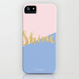 Pantone Rose Quartz and Serenity with Gold Glitter Shine iPhone Case